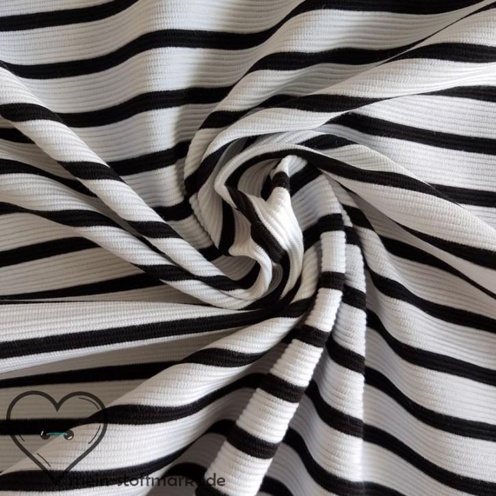 Ottoman gestreift mit Baumwolle PES EL 215g/m² Weiß/Schwarz 0,25m (251004)