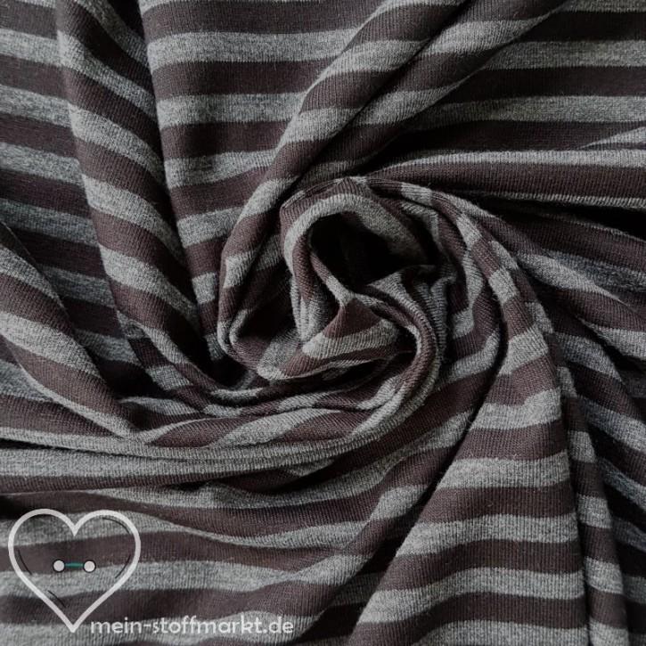 Singlejersey gestreift Baumwolle Polyester 160g/m² Schwarz/Grau melange 0,25m (351007)