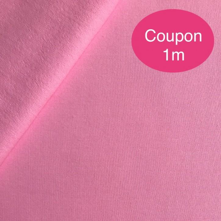 Sweat geraut Baumwolle/Elastan 225g/m² Rosa Coupon 1m (358115)