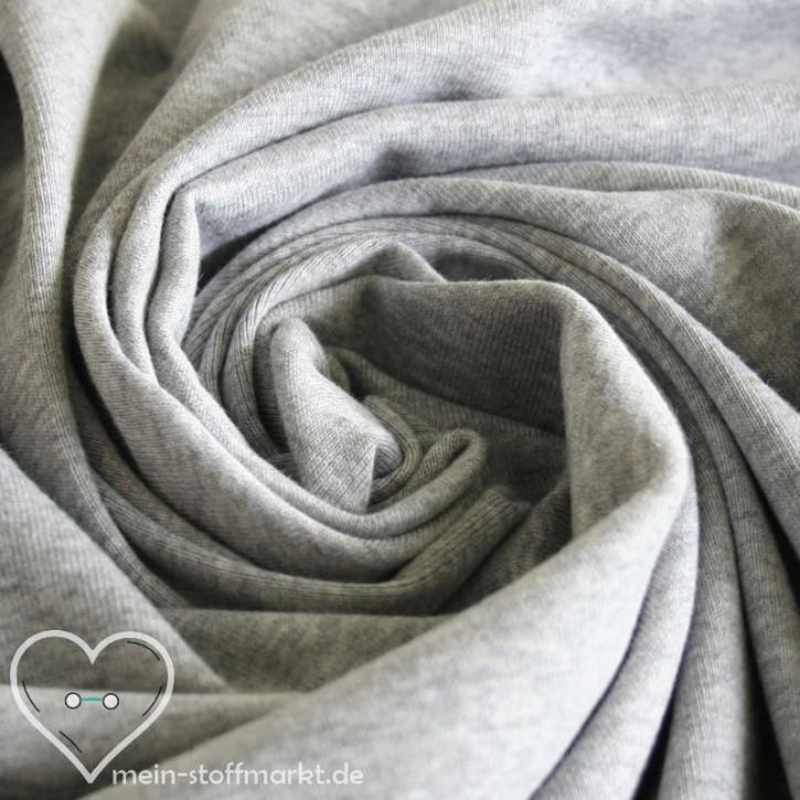 Feinripp 100% Baumwolle  195g/m² Grau melange 0,25m (650051)