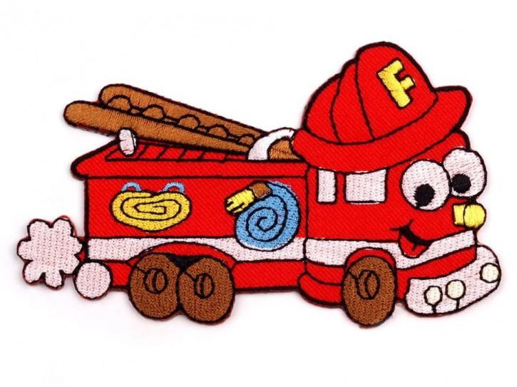 Aufbügler Feuerwehrauto mit Gesicht
