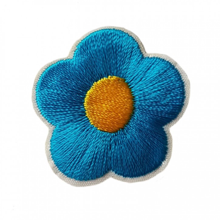 Aufbügler Blume Blau