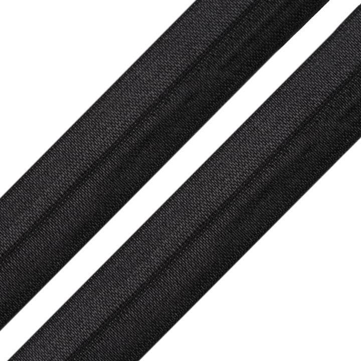 Elastisches Einfassband / Faltgummi Uni Schwarz 2m