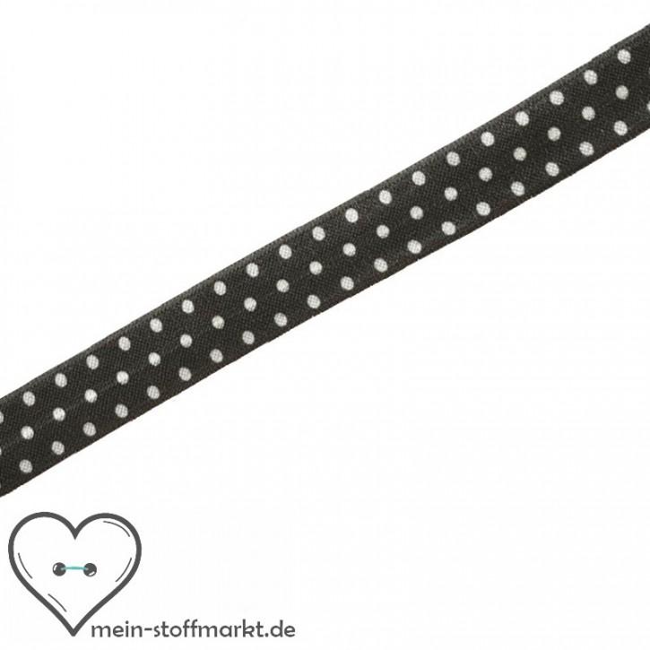 Elastisches Einfassband / Faltgummi Punkte Dunkelgrau/Weiß 2m