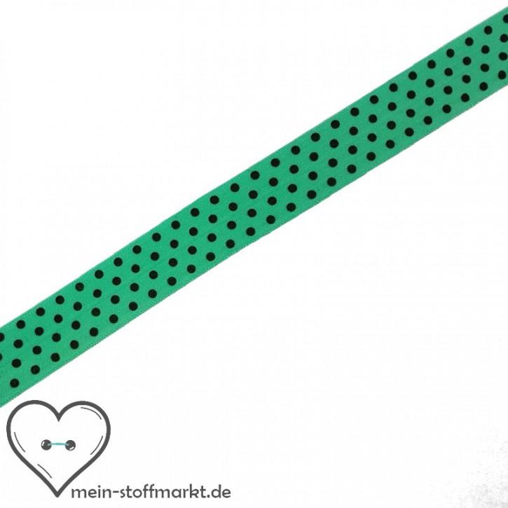 Elastisches Einfassband / Faltgummi Punkte Grün 2m