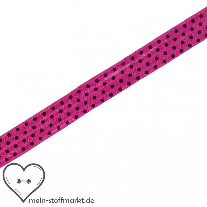 Elastisches Einfassband / Faltgummi Punkte Pink 2m