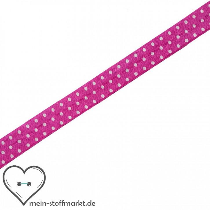 Elastisches Einfassband / Faltgummi Punkte Pink/Weiß 2m