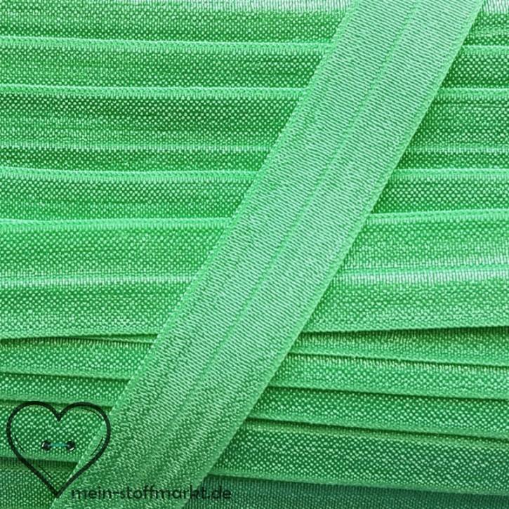 Elastisches Einfassband / Faltgummi Uni Grün 2m