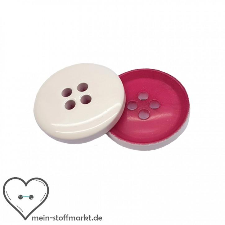 Knöpfe Pink Weiß 20mm 2er Set