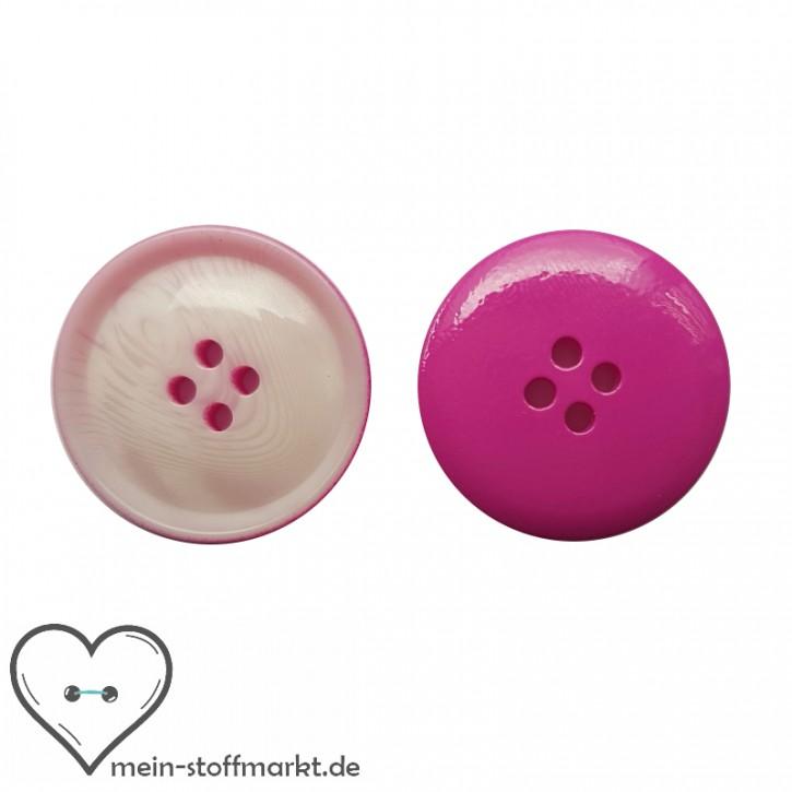 Knöpfe Pink Weiß 25mm 2er Set