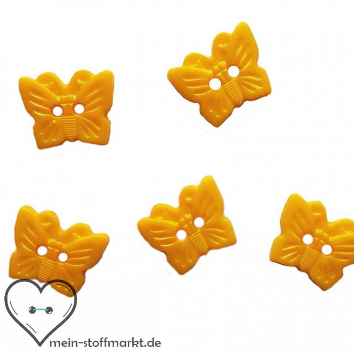 """Knöpfe """"Schmetterling"""" 15mm Set 5er Gelb"""