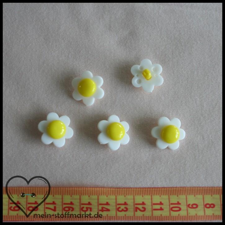 """Knöpfe """"Blume"""" 21mm Set 5er Weiß/Gelb"""