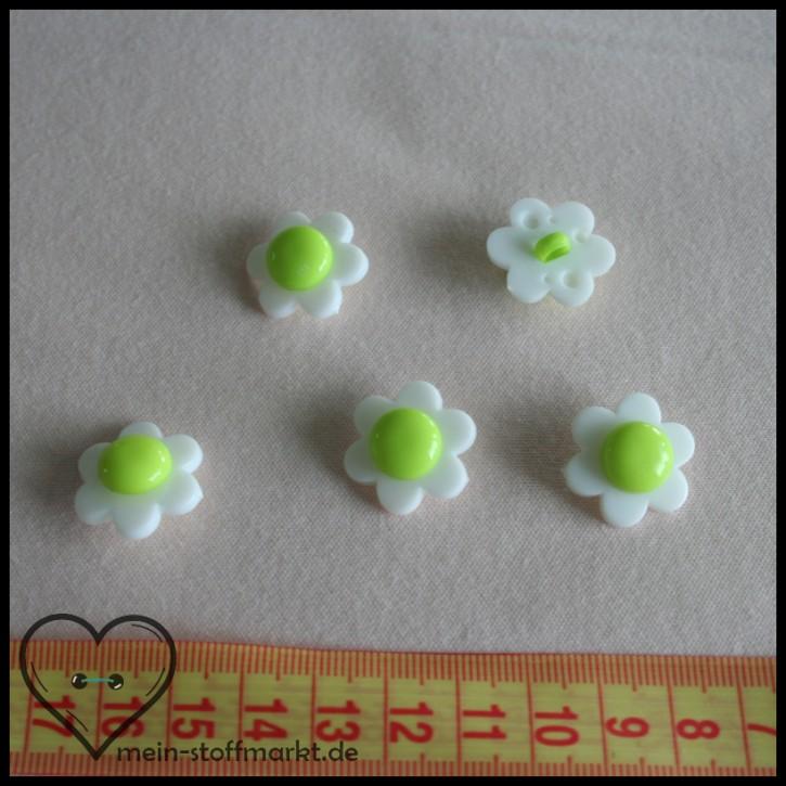 """Knöpfe """"Blume"""" 21mm Set 5er Weiß/Grün"""