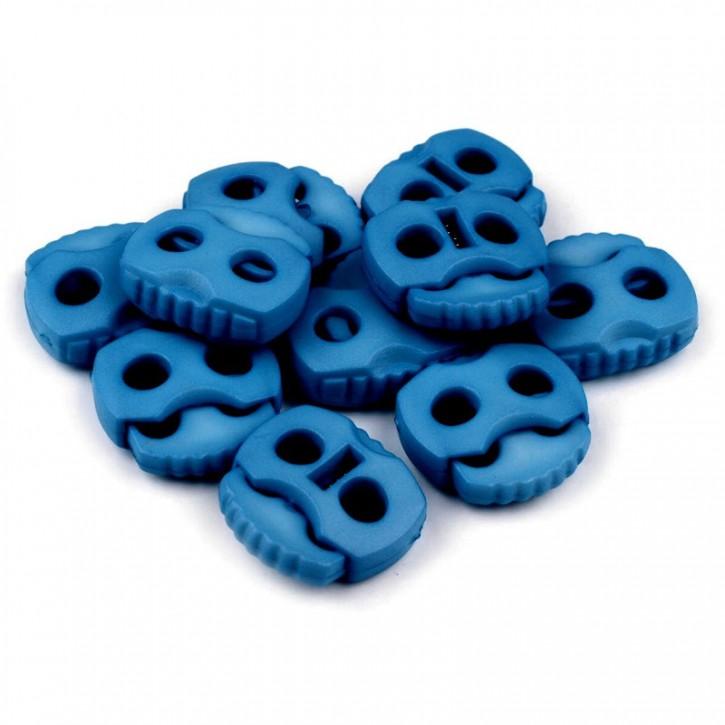Kordelstopper flach mit 2 Löchern, 20x20 mm, Mittelblau
