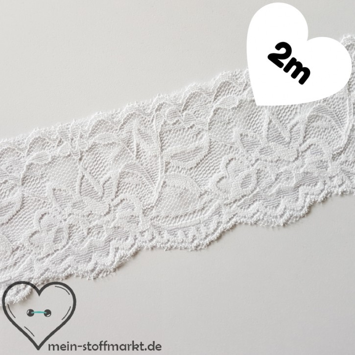 Spitze elastisch Weiß 55mm x 2m