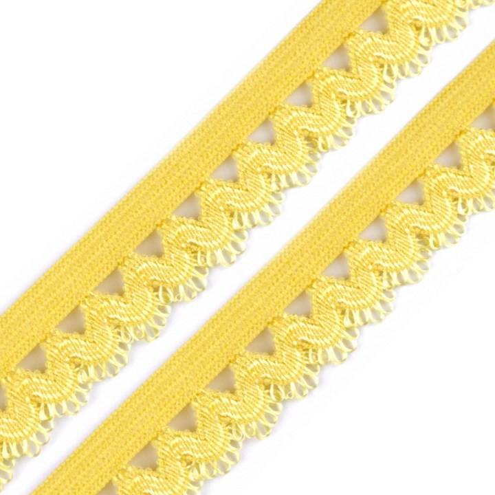 Wäschegummi verziert 15mm Gelb 2m