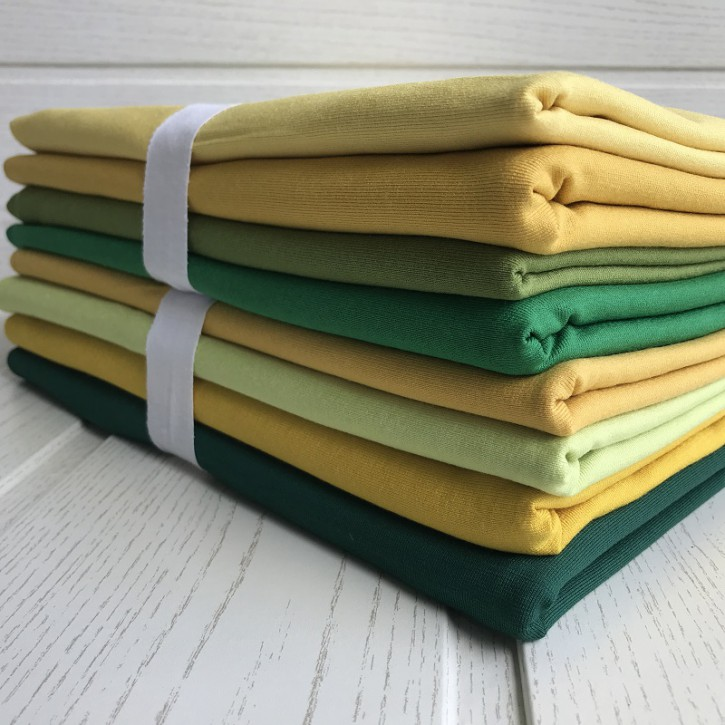 Ü-Stoffpaket Jersey Viskose/Elastan <100cm Grün/Gelb