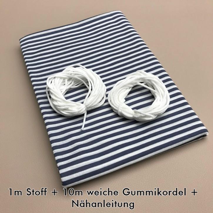 Nähset für Stoffmasken Marine/Weiß (bis zu 16 Masken)