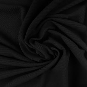 Feinripp Ottoman mit Baumwolle PES EL 225g/m² Schwarz 0,25m (251006)