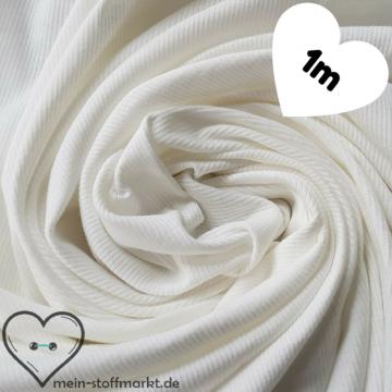 Feinripp Baumwolle/Elastan 160g/m² Weiß Coupon 1m (258012)