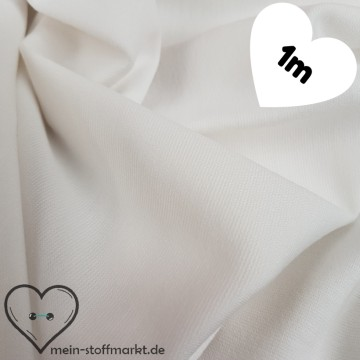 Interlock Romanit Viskose Polyester 290g/m² Weiß Coupon 1m (261002)