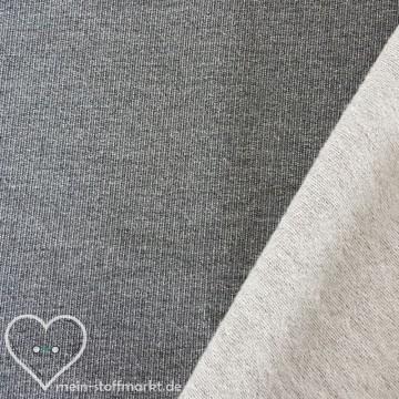 Sweat Baumwolle/PES/EL angeraut 300g/m² Dunkelgrau melange 0,25m (351011)