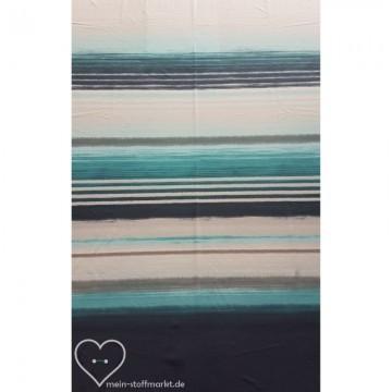 Interlock bedruckt Baumwolle Streifen Blau 0,25m