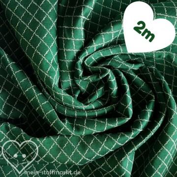 Steppkaro Baumwolle Polyester Grün/Weiß Coupon 2m (851018)