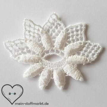 Applikation Stickerei Blüte weiß