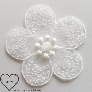 Applikation Stickerei Blüte 55mm weiß