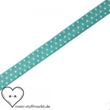 Elastisches Einfassband / Faltgummi Punkte Hellblau/Weiß 2m