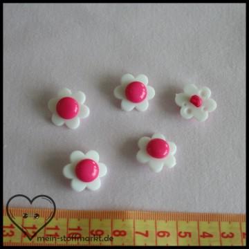 """Knöpfe """"Blume"""" 21mm Set 5er Weiß/Pink"""