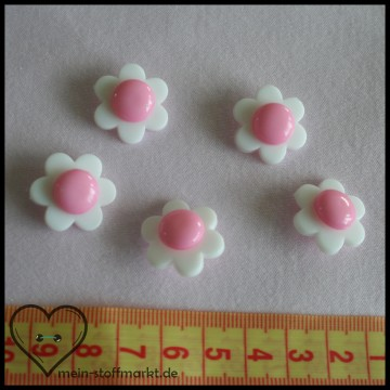 "Knöpfe ""Blume"" 21mm Set 5er Weiß/Rosa"