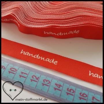 "Label Webband ""handmade"" 5er Rot Weiß"