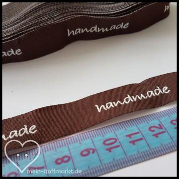 """Label Webband """"handmade"""" 5er Braun Weiß"""