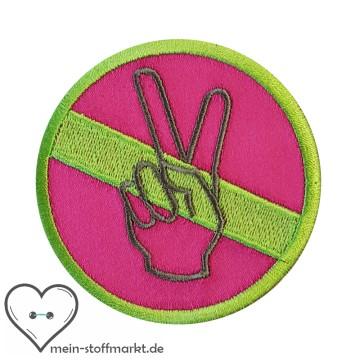 Aufnäher Patch Peace Grün/Pink/Grau