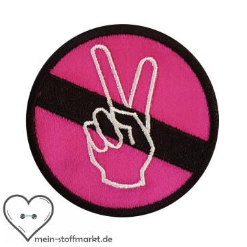 Aufnäher Patch Peace Schwarz/Pink/Weiß
