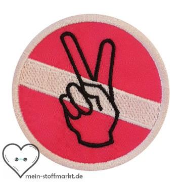 Aufnäher Patch Peace Weiß/Pink/Schwarz
