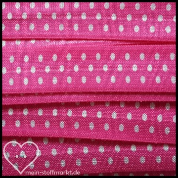 Elastisches Einfassband / Faltgummi Pink 2m