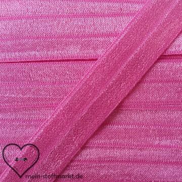 Elastisches Einfassband / Faltgummi Uni Pink 2m