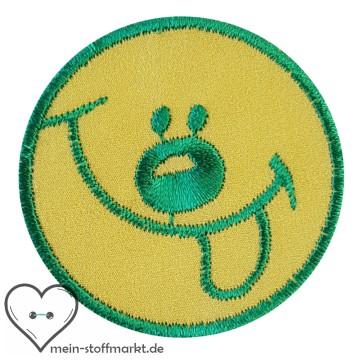 Aufnäher Patch Smiley Dunkelgrün/Gelb