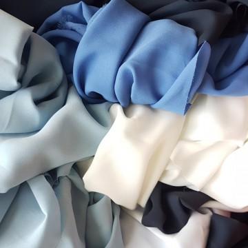 Ü-Stoffpaket Blusenstoff Georgette Weiß/Blau/Blau (910001)