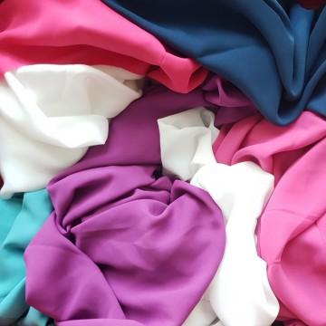 Ü-Stoffpaket Blusenstoff Georgette Weiß/Blau/Pink(910001)
