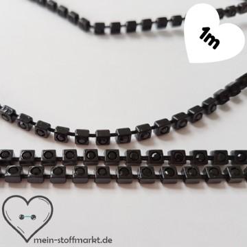 Strassband mit Steinchchen 4mm Schwarz 1m